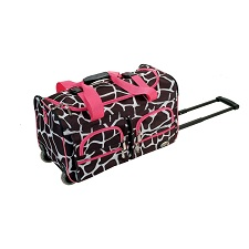 Rockland Luggage Rolling 22&#8243;  Giraffe Print Duffle Bag